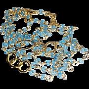 "Blue Topaz Necklace, Long Layering Wrap, Gold Fill, 44"", or Six Strand Bracelet"
