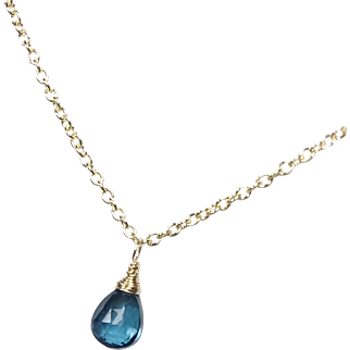 London Blue Topaz Gold Filled Briolette Necklace