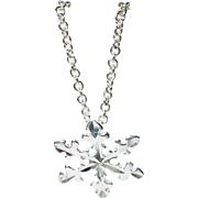 Snowflake Charm Necklace Sterling Silver