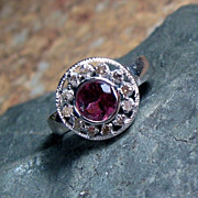 Tourmaline and Diamond Sterling Ring - Size 6