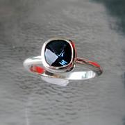 London Blue Gemstone Stacking Ring - Sterling Size 6.25