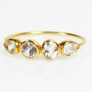 Size 5.75 Diamond Clear White Topaz 14K Gold Ring, Slim Band, Minimalist