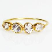 Size 5.75 Diamond Clear White Topaz 14K Gold Ring, Slim Band, Minimalist