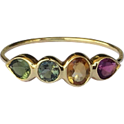 14K Gold Gemstone Stacking Ring Tourmaline Size 6