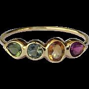 14K Gold Gemstone Stacking Ring Tourmaline Size 6