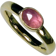 Rose Cut Natural Sapphire Gemstone Wide Band 14K Gold Ring