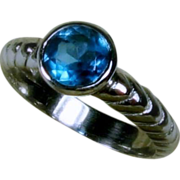 15% OFF Blue Topaz Sterling Ring, Size 6.25