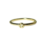 18K Gold Mini Yellow Diamond Ring, Size 7.25