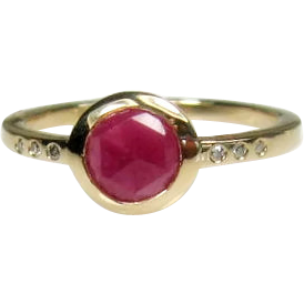 Natural Pink Sapphire and Diamonds 14K Gold Ring Size 6.25