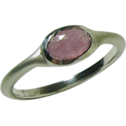Rose Cut Natural Soft Pink Sapphire Ring in Sterling Silver, bushed matte, Ready to Ship, Size 7.75