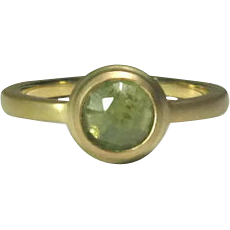 Natural Green Sapphire 14K Gold Ring