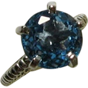 Blue Topaz Sterling Silver Gemstone Ring, Rope Band, Prong, Bella Collection
