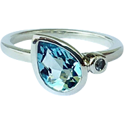 Aquamarine Pear White Sapphire Sterling Silver Size 6