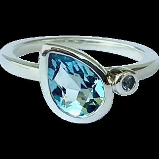 Aquamarine Pear White Sapphire Sterling Silver Size 6