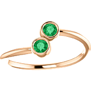 Emerald Dual Stone 14K Rose Gold Ring
