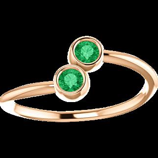 Emerald Dual Stone 14K Rose Gold Ring
