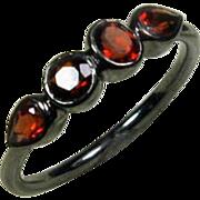 25% OFF Garnet Gemstone Oxidized Sterling Birthstone Band, Size 6.25