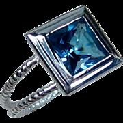 Holiday Sale Size 6 Swiss Blue Topaz Sterling Engagement Ring, 10mm Sterling Split Rope Shank