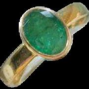 Emerald 14K Ring, Low Profile