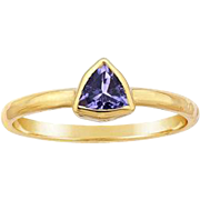 Tanzanite 14K Gold Trillion Gemstone Ring, Slim Band