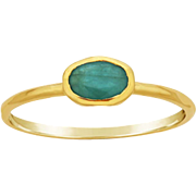 Emerald 14k gold ring, bezel set oval gemstone, slim stacking ring