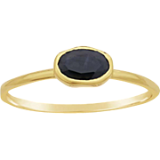 Sapphire Solitaire, Black Oval Sapphire 14K Yellow Gold Stacking Ring,  Slim Band
