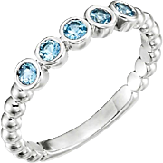 Aquamarine Stacking Ring Sterling Silver, March Birthstone, Size 7