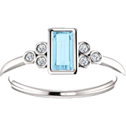 Aquamarine Baguette Diamond Ring, 14K White Gold Gemstone Ring, Size 6
