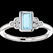 Aquamarine Baguette Diamond Ring, 14K White Gold Gemstone Ring, Size 6