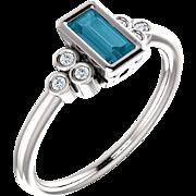 London Blue Topaz Baguette Gemstone White Sapphire Engagement Ring, Valentine Gift for her, Size 6