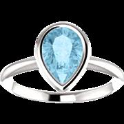 14K Gold Aquamarine 7x5mm Pear Gemstone Ring, Tear Drop, March Birthstone, Size 7