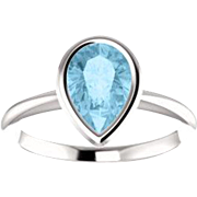 Aquamarine Pear Gemstone Ring 14K White Gold Aquamarine Size 7