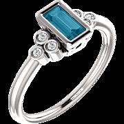 London Blue Topaz Baguette Gemstone White Sapphire Sterling Silver Ring, Size 6