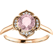 Morganite Diamond 14K Rose Gold Vintage Floral Style Halo Engagement Ring, Round Gemstone, Size 5.5