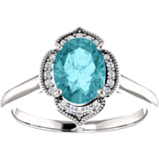 Blue Zircon Diamond 14K White Gold Vintage Floral Style Halo Engagement Ring, Oval Gemstone