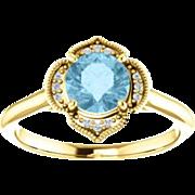 Aquamarine Diamond 14K White Gold Vintage Floral Style Halo Ring, Size 7
