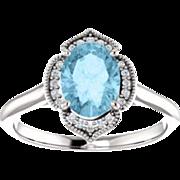 Aquamarine Diamond 14K White Gold Vintage Floral Style Halo Ring, Oval Gemstone, Size 6.5