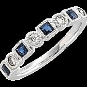 Blue Sapphire Diamond Anniversary Band 14K White Gold, Size 7