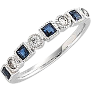 Blue Sapphire Diamond Anniversary Band 14K White Gold, Size 7