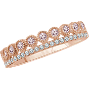 Moissanite and Diamond Rose Gold Ring Size 7