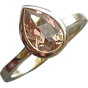 Morganite Pear 14K Yellow Gold Ring, Size 7
