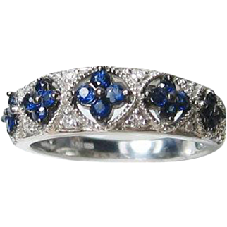 Blue Sapphire Diamond Anniversary Sterling Silver Wide Band Ring Size 6