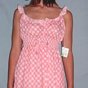 Vintage 1960 Barbizon Seraphim Batiste Pink & white Baby Doll Nighty set NEW NWT NOS Size Small