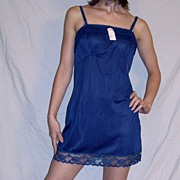 Vintage 1960 Lorraine Navy Blue Full slip mini NEW NWT NOS size 32