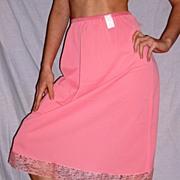 Vintage 1950 Lorraine Geranium Pink Half Slip NEW NWT NOS Size Medium