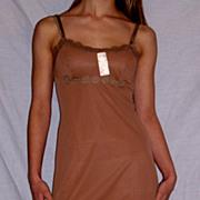 Vintage 1960 Lorraine Full Slip Jamoca Chocolate Brown size 30 NWT NOS