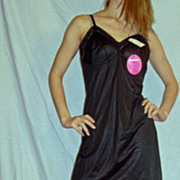 Vintage 1960 Lorraine Black Full slip NEW NWT NOS size 36 short
