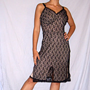 1950 Powers Model All Lace Black Full Slip size 36 / 38