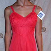 Vintage  1950 LAROS  Tiger Lily Red Full slip NWT size 32 short