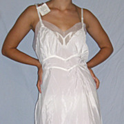 Vintage 1950 Seamprufe Cuddylon Bur Mil White Full slip NWT NEW NOS Size 38 / 40